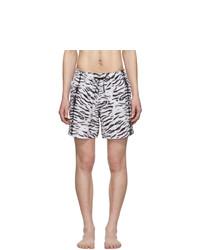 White and Black Print Swim Shorts