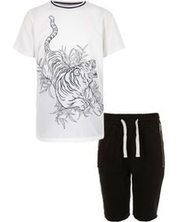 River Island Boys White Tiger Print T Shirt Shorts Outfit