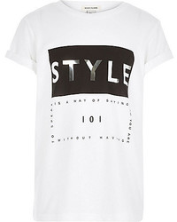 River Island Girls White Style Print Short Sleeve T Shirt