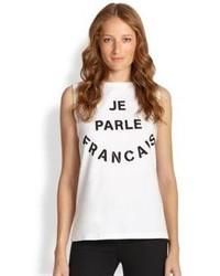 Etre Cecile Je Parle Francais Printed Cotton Tank