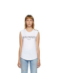 Balmain White 3 Button Logo Tank Top