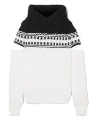 Monse Cold Shoulder Fair Isle Wool Sweater