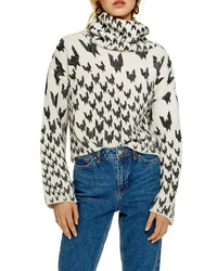 Topshop Dogtooth Chunky Roll Neck Sweater