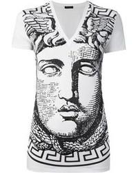White and Black Print V-neck T-shirt