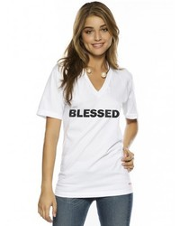 Peace Love World I Am Blessed V Neck Tee