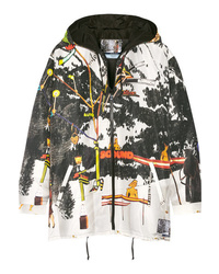 Prada Printed Silk Faille Hooded Jacket