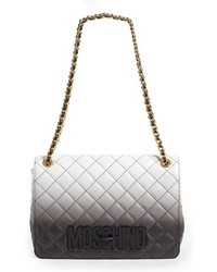 White and Black Quilted Leather Satchel Bag