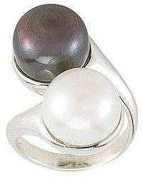 Fine jewelry black white cultured freshwater pearl button bypass ring medium 94208