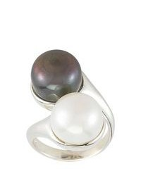 FINE JEWELRY Black White Cultured Freshwater Pearl Button Bypass Ring