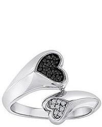 Modern Bride 110 Ct Tw White Color Enhanced Black Diamond Double Heart Ring