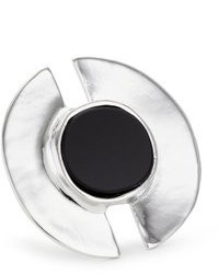 Rain Silver Tone With Black Stone Adjustable Ring