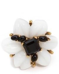 Oscar de la Renta Resin Flower Cabochon Ring