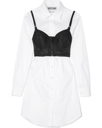 Moschino Layered Med Satin And Cotton Blend Poplin Dress
