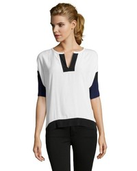 Rebecca Taylor Navy And White Colorblock V Neck Short Sleeve Blouse