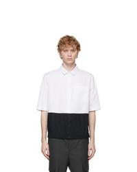 Neil Barrett White And Black Poplin Pocket Shirt