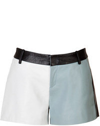 Each Other Leather Colorblock Shorts In Bluewhitenavy