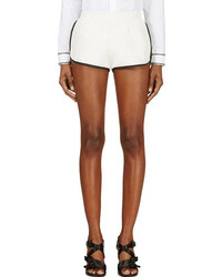 Band Of Outsiders Ivory Kangaroo Leather Contrast Trimmed Shorts