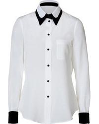 Moschino Silk Blouse In Whiteblack