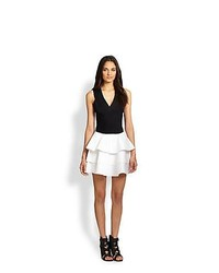 Robert Rodriguez Two Tone Skater Dress White