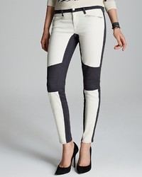 Ralph Lauren Black Label Leather Stripe Biker Jeans Plate White ...