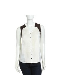 White and black sleeveless button down shirt original 9063580