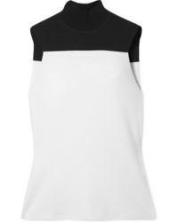 Narciso Rodriguez Two Tone Wool Blend Turtleneck Top
