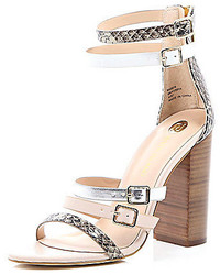 Nude snake print strappy high heel sandals medium 229769
