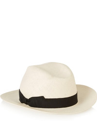Iris And Ink Grosgrain Trimmed Straw Panama Hat