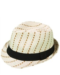 PDS Online New Summer Straw Trilby Panama Fedora Hat Cap Black Band