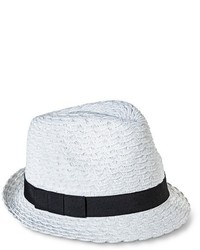 Merona Solid Fedora With Contrast Bow Sash White