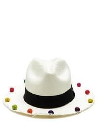 Sensi Studio Pom Pom Trimmed Classic Panama Hat
