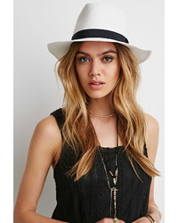 Forever 21 Wide Brim Banded Straw Hat