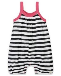 Burts Bees Baby Organic Cotton Striped Sleeveless Romper In Blackwhitepink
