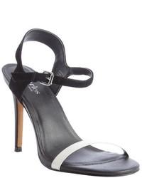 Black and white suede reverse heel sandals medium 280922