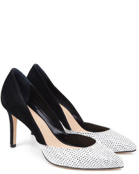 White and Black Suede Pumps