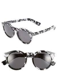 Illesteva Leonard Ii 50mm Round Mirrored Sunglasses Black Horn Violet