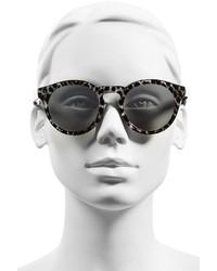 9caa48cd0f ... Illesteva Leonard Ii 50mm Round Mirrored Sunglasses Black Horn Violet  ...
