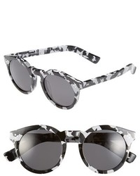Leonard ii 50mm round mirrored sunglasses black horn violet medium 179134