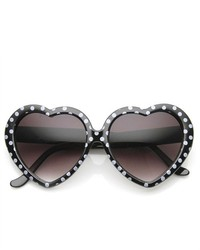 ZeroUV Oversized Polk Dot Heart Shaped Sunglasses