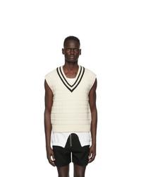 TAKAHIROMIYASHITA TheSoloist. White Wool V Neck Vest