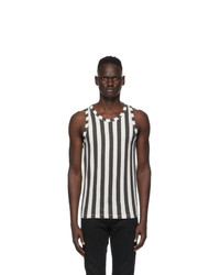 Saint Laurent Black And Off White Striped Tank Top