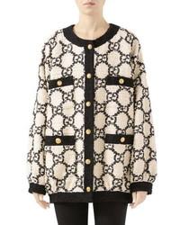 Gucci Gg Tweed Drape Back Jacket