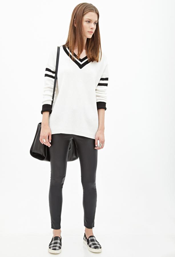 2855b91dd24 ... Forever 21 Varsity Striped Sweater ...