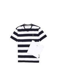 White and Black V-neck T-shirt