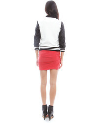 Singer22 Pam Gela Colorblock Jacket With Quilted Sleeves In Cream