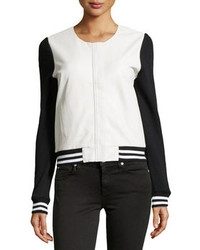 Townsen Varsity Style Leather Combo Jacket Whiteblack