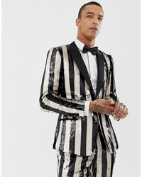 ASOS Edition Skinny Tuxedo Suit Jacket In Black And Cream Reversible Sequin Stripe