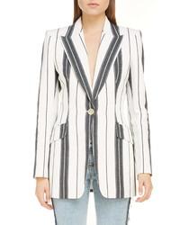 Alexander McQueen Stripe Linen Cotton Blazer
