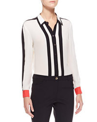 White and Black Vertical Striped Button Down Blouse