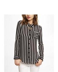 Express Striped One Pocket Button Up Blouse Black Medium